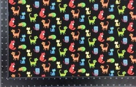 Happy Paws Cats Multi Black 100% Cotton High Quality Fabric Material 3 S... - $3.06+