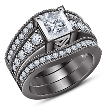 Princess Cut White CZ Black Gold Over 925 Silver Womens 3pcs Engagement Ring Set - £145.66 GBP