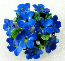 made in England Hand Crafted Porcelain blue Forget me not Flowers Bar Pi... - $23.76