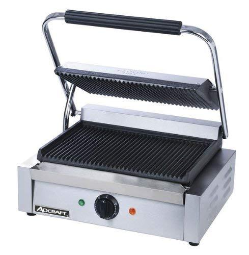 Primary image for Adcraft Countertop Panini Grill with Grooved Plates, 17 x 14.5 x 7.5 inch - 1 ea