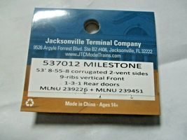 Jacksonville Terminal Company # 537012 MILESTONE  53' 8-55-8  Container N-Scale image 4