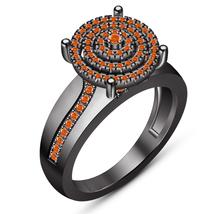 Orange Sapphire 10k Black Gold Plated Pure 925 Silver Wedding Engagement... - $111.86 CAD