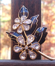 Vintage Trifari TM Black Enamel Leaf Leaves Rhinestone Flower Brooch - $95.00
