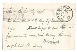 UX11 Postal Card Philadelphia PA 1896 Amercan Machine Cancel Quaker Plain Speech image 2