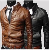 Fashion horizontal zipper short paragraph Slim leather collar leather me... - $40.08