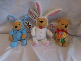 Disney Winnie The Pooh Easter Set Of 3 Plush Beanie New w/ Tags Retired Rare - $38.48