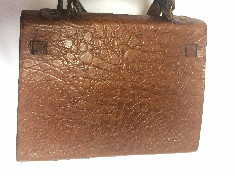 ac38f78335b Vintage Mulberry croc embossed brown leather Kelly bag with shoulder strap.  Roge