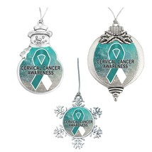Cervical Cancer Awareness Ribbon Christmas 2019 Ornament Snowman Snowfla... - $13.01