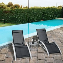 3 Pieces Outdoor Patio Pool Lounger Chairs Tables Set Yard Garden Furnit... - $141.29