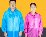 Transparent Raincoat For Women Men Portable Waterproof Disposable Hooded Plastic