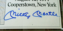 MICKEY MANTLE / AUTOGRAPHED 1974 INDUCTION DAY PHOTO ON PLAQUE / JSA FULL LOA image 3