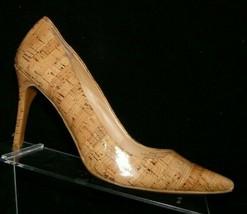 Lauren Ralph Lauren 'Adena' brown cork print pointed toe slip on heels 6.5B - $28.63