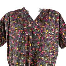 Scrub H.Q. Black Green Orange Pink XL Geometric Rectangles Squares Scrub... - $16.23