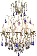 Large Maria Theresa Style 12-Arm Chandelier  Blue Murano - $2,009.00