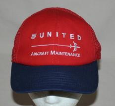 United Aircraft Maintenance Red Blue Mesh Baseball Hat Adjustable Embroi... - $20.74