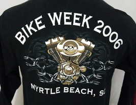 Bike Week 2006 Myrtle Beach SC L/S Black Graphic T Shirt 100% Cotton L L... - $22.42