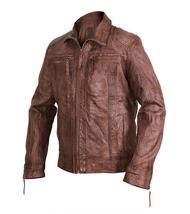 Mens Cafe Racer Vintage Biker Zip Up Motorcycle Brown Distressed Leather Jacket image 3