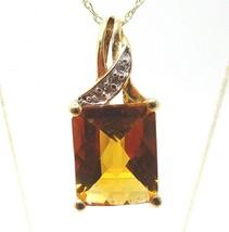 10k Gold Madeira Genuine Natural Citrine Pendant with Diamonds (#C3713) - $255.00