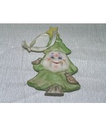 Roman Inc. Signed  Smiling Green Porcelain Christmas Tree Holiday Orname... - $9.49