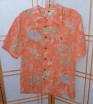 Hawaiian Camp Shirt Joe Marlin Mens L Floral Print Orange Multi Color S/S - $13.83