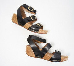 Dansko Leather Ankle Strap Wedges - Lou Black EU 36 - $89.09