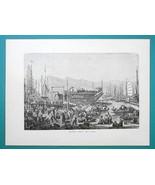 CHINA Shanghai Harbor Pleasure Flower Boats - 1877 Wood Engraving Illust... - $8.09