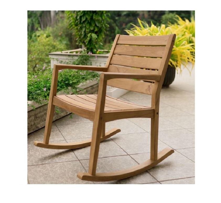 Teak Wooden Rocking Chair Rocker for Indoor or Outdoor Patio Porch Garden Deck