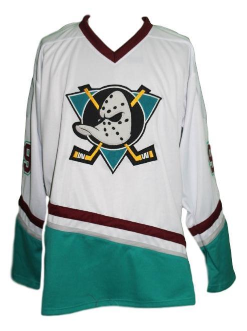 Adam banks  99 mighty ducks hockey jersey white   1