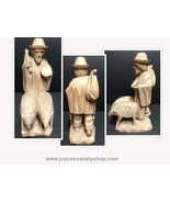 """Homemade Hand Carved Wood Statue Traveler & Pets 8"""" H - $21.99"""