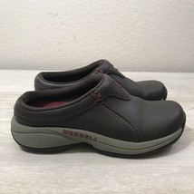 Merrell Expresso Brown Leather Slip On Mules Clogs Womens Sz 5.5 - $27.72