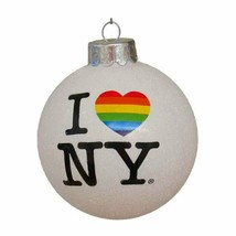 "Kurt Adler Glass ""i Love Ny"" Pride Ball Ornament (Silver, 80MM) - $12.77"