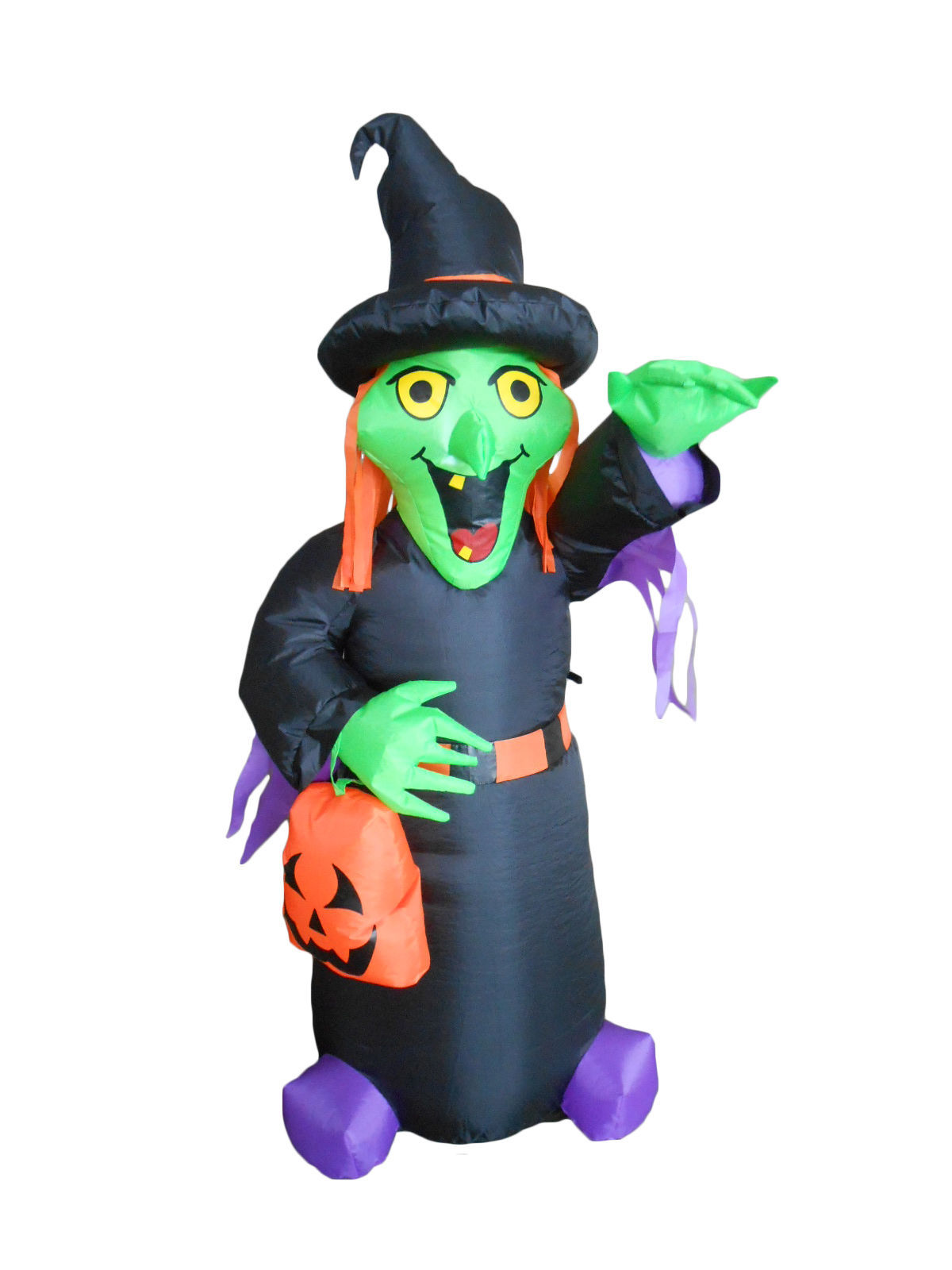4 Foot Tall Halloween Inflatable Witch with Pumpkin Bag Yard Outdoor Decoration
