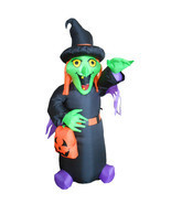 4 Foot Tall Halloween Inflatable Witch with Pumpkin Bag Yard Outdoor Dec... - £34.91 GBP
