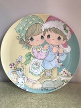 Precious Moments Christmas Plate Melamine Art By Sam B. 7 3/4 Inches In ... - $8.90