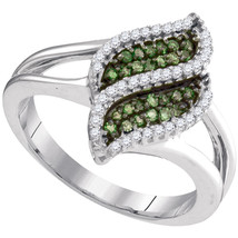 10kt White Gold Round Green Color Enhanced Diamond Cascading Fashion Ring - £242.33 GBP