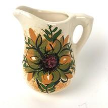 "Vintage Vase Pitcher Handmade Signed RD Floral Flower Pottery 5 1/2 "" Tall - $19.79"
