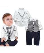 StylesILove Infant Toddler Baby Boy 2PC Gentlemen Suit Striped Romper An... - $28.99