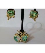 Vintage Aurora Borealis Heart Shaped Golden Jewelry Set - $34.00