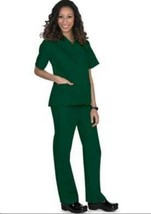 Scrub Set S Hunter Green V Neck Top Drawstring Pants Unisex Natural Uniforms New - $34.89