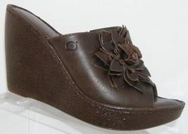 Born leather peep toe floral slip on weave B81323 platform wedges 9 EU 40 - $35.21