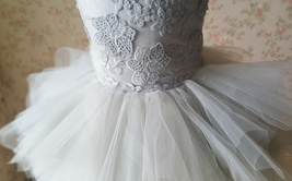 Gray Flower Girl Dress Gray Tulle/Lace Knee-Length Girl's Princess Dress NWT image 6