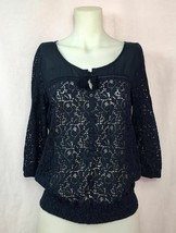 Aeropostale Navy Top with Lace Body and Sleeves 3/4 SL Women's Size Medium - $7.59