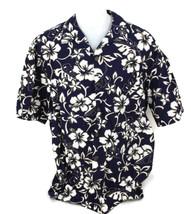 Hilo Hattie Hawaiian Original Men's Blue Luau Aloha Flower Shirt Size XL... - $28.01