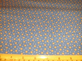 1/2 Yd Andover Fabric Quilt Study Gold Suns Dots on Blue - $5.08