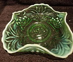 Fenton Waterlily & Cattails Uranium Bowl - $99.99