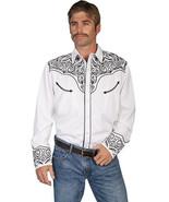 Men's Western Shirt Long Sleeve Rockabilly Country Cowboy White Blk Embr... - $87.38
