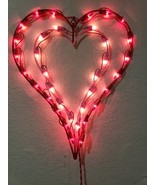 """x2 VALENTINES DAY DOUBLE HEART WINDOW LIGHTED DECORATION RED/PINK 16"""" X ... - $34.99"""