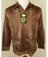 Guayabera Size Large Zava Copacabana Brown Embroidered Button Front Shir... - $28.49