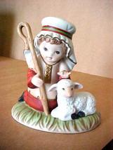 "Shepherd Boy w/ Lamb / Sheep Porcelain Figurine Homco # 5257 4"" T x 3.75"" W - $16.43"