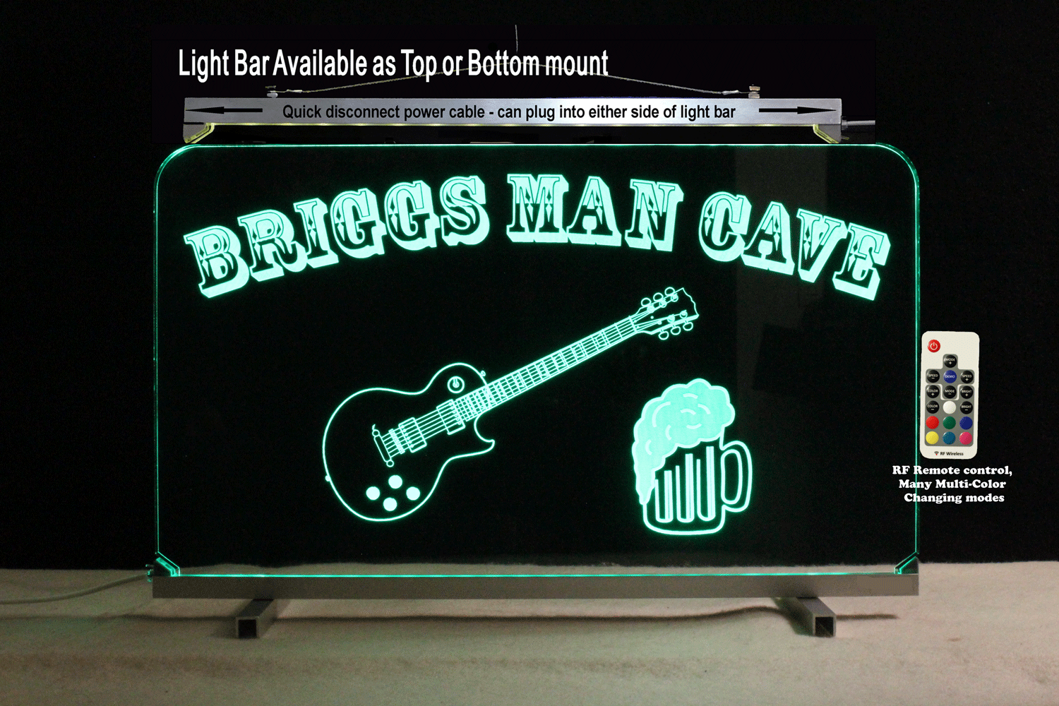 Primary image for Custom Lighted Bar Sign with Guitar and Beer Mug,  Man Cave Sign